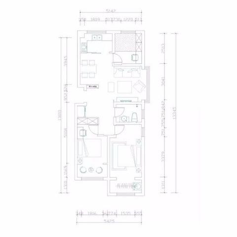 烟台海峰小区115平米田园风格户型图