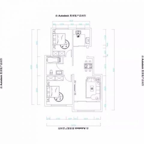 烟台山居郦城74平米新中式风格户型图