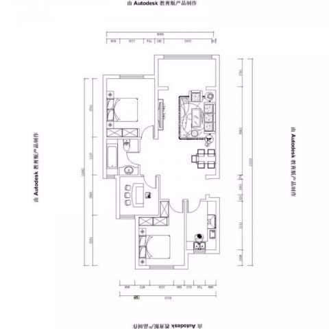 烟台山居郦城95.9平米美式风格户型图