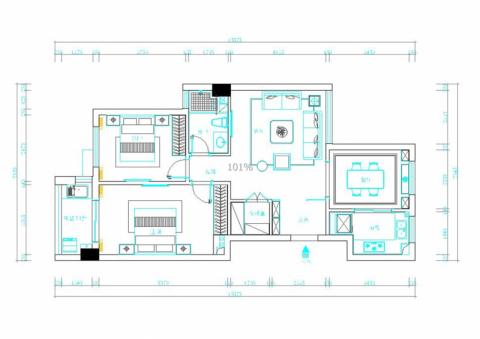 温州黄屿家园110平米简中风格户型图