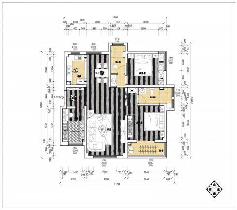 威海威海海港城小区130平米现代简约风格户型图