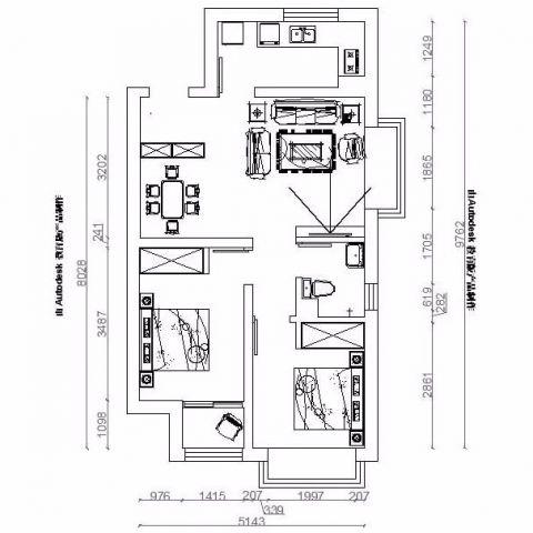 烟台第一国际一品名宅81平米简约风格户型图