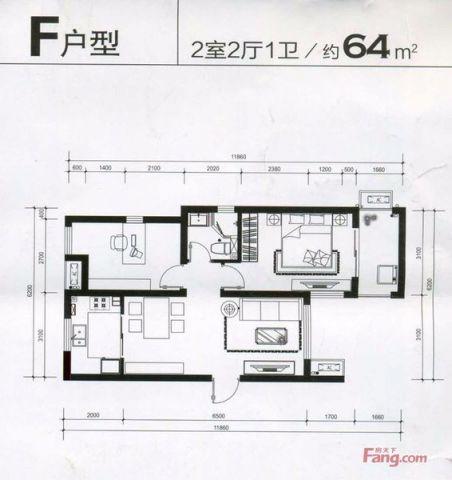 南京东郊小镇60平米欧式风格户型图