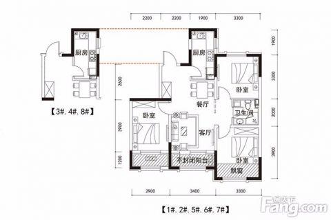 沈阳小石城梦想小镇97平米现代简约风格户型图