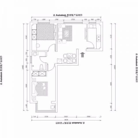 烟台富丽新城72平米现代风格户型图