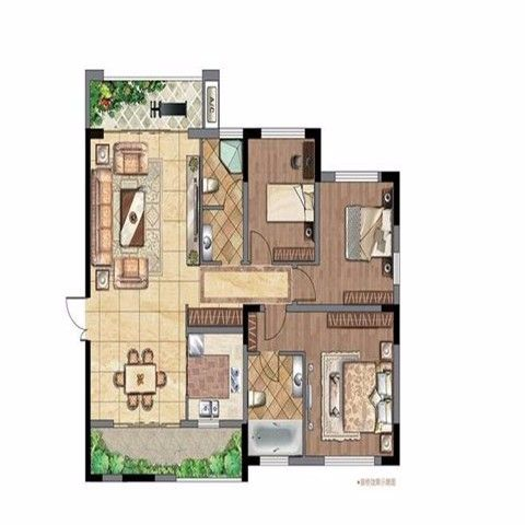 太原府东公馆117平米现代简约风格户型图