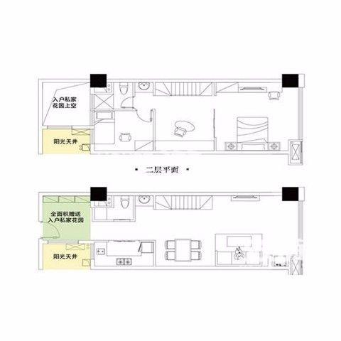 南京花样年喜年中心65平米混搭风格户型图