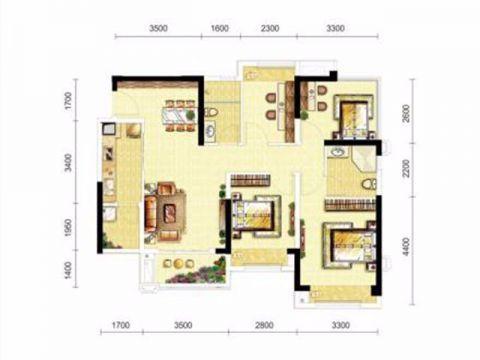 成都龙湖三千城126平米美式风格户型图