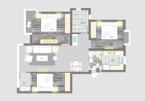 扬州瘦西湖福苑98平米现代风格户型图
