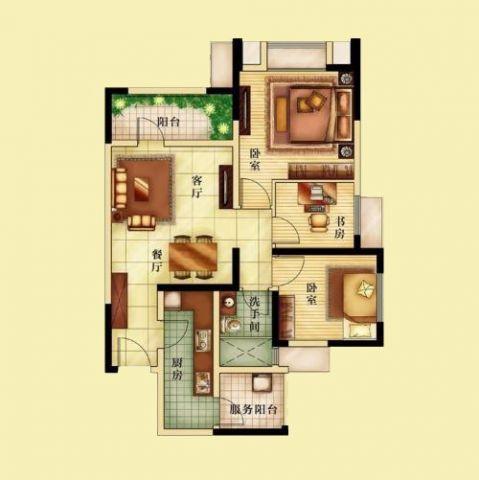 重庆长安锦尚城93平米现代简约风格户型图