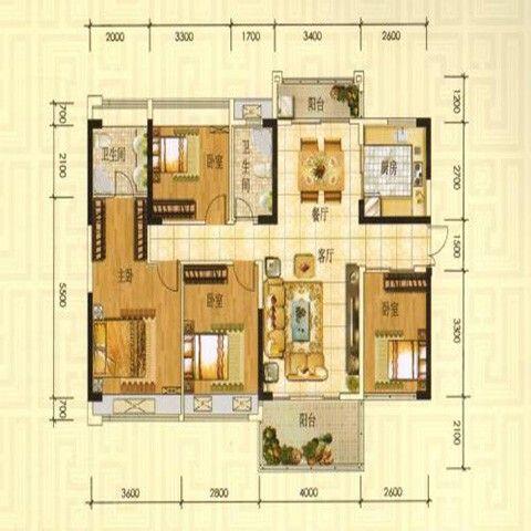 成都领地海纳时代140平米美式风格户型图
