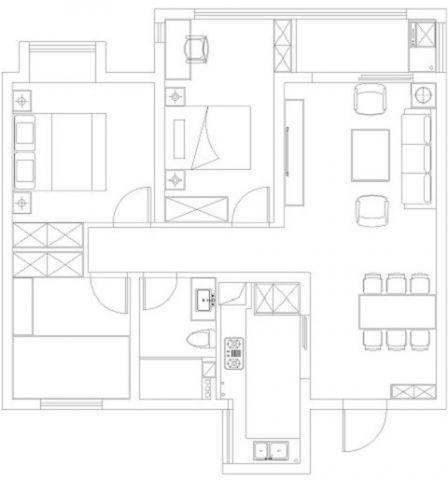 宁波中海国际社区110平米新中式风格户型图