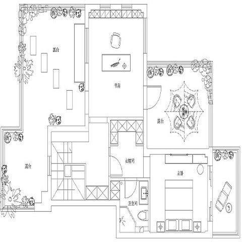 宁波梅树小区150平米混搭风格户型图