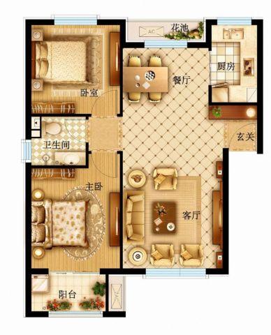 西安龙湖香缇国际社区140平米中式风格户型图