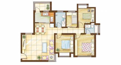 西安铜雀台90平米田园风格户型图