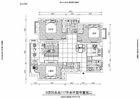 扬州清风名苑116平米欧式风格户型图