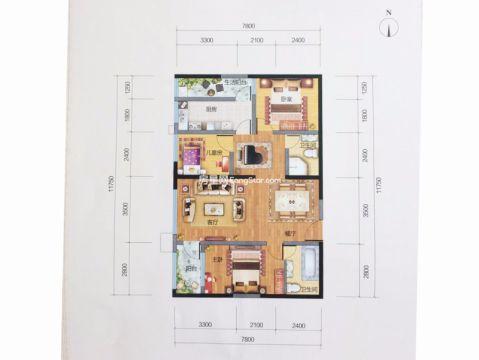 昆明未名城125平米现代简约风格户型图