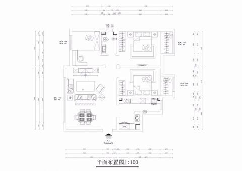 太原西吴御龙庭120平米新中式风格户型图