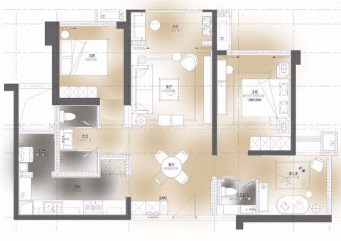 太原太原恒大绿洲96平米混搭风格户型图