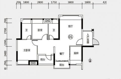 佛山绿岛明珠87平米现代简约风格户型图