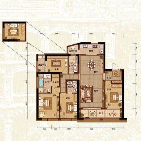 重庆融创白象街150平米现代简约风格户型图