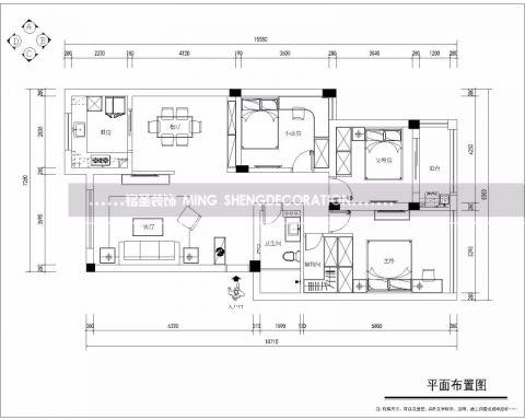 杭州古荡新村东55平米现代风格户型图