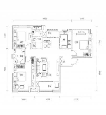 南京永欣新寓120平米现代风格户型图