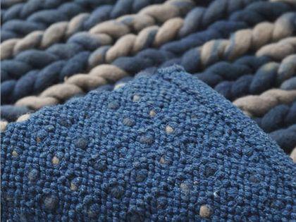 手工旧毛线编织地毯 实用美观变废为宝