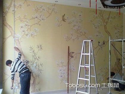 贴壁纸要技术,从上到下垂直贴才牢固