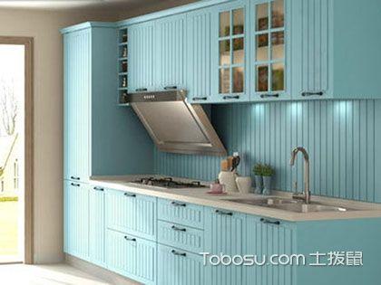 蓝色橱柜效果图,为厨房蒙上一层自然清新