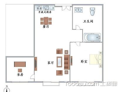 现代简约一室户型图,省钱又舒适的装修设计!