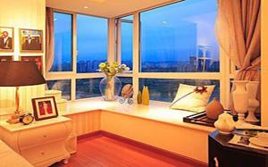 【转角飘窗】转角飘窗设计,转角飘窗书桌,窗帘,装修效果图