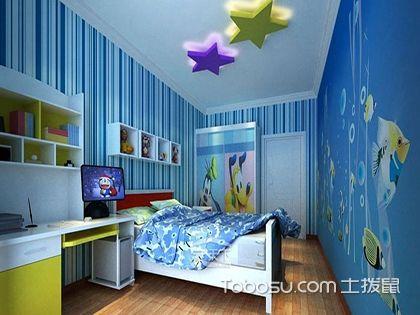 儿童房浅蓝色墙效果图,孩子卧室里的天空
