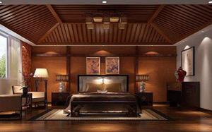 【中式卧室】中式卧室背景墙,中式卧室吊顶,灯,装修效果图