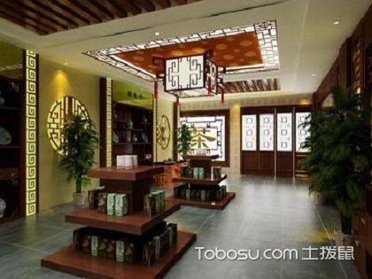 新中式茶叶店装修设计图,整体效果简约大气