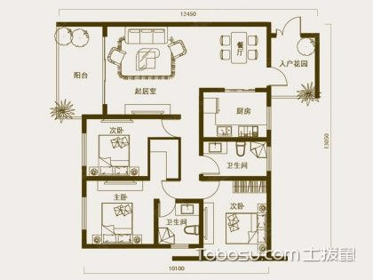 最精致的家庭装修效果图,三室两厅两卫装修效果图您会满意!