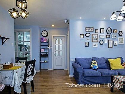 70平米地中海风格装修,柔和的蓝色调为生活带来宁静的氛围