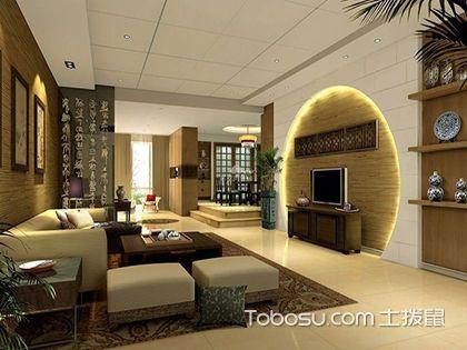 2018新中式客厅背景墙装修效果图欣赏