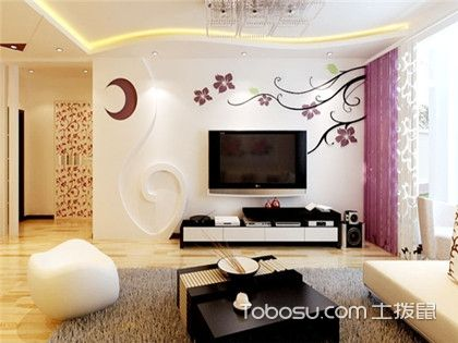 硅藻泥电视墙效果图,客厅电视背景墙图片赏析