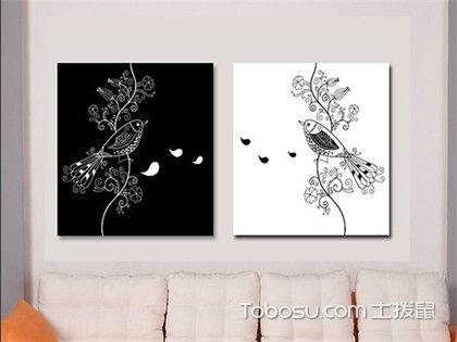 黑白装饰画效果图欣赏,客厅和卧室墙面黑白装饰画集锦