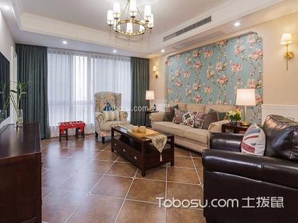 美式花枝壁纸满客厅贴好看嘛,不同的搭配拥有不同的魅力