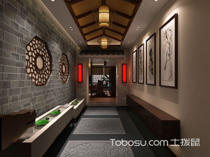 中式别墅走廊设计效果图,曲径通幽的禅意空间