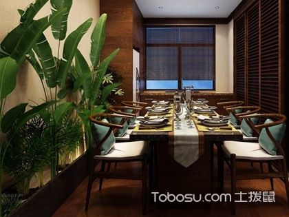 餐厅绿植摆放效果图,用清新花束营造浪漫就餐氛围