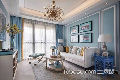 四室两厅美式风格装修案例,蓝色美式风带你走进浪漫空间