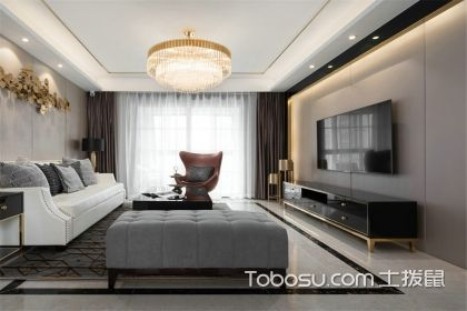 90平现代风格装修案例,用黄铜色轻松营造高级感