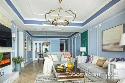三室两厅美式风格家装设计,用黄铜色轻松get高级感