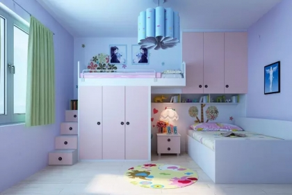 可隔开兄妹双人儿童房装修,这样设计充满童趣图片