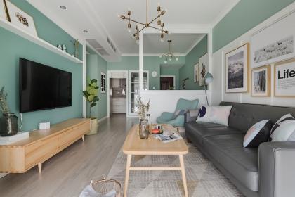 室内设计北欧风格设计主题,90平米北欧清新薄荷之家