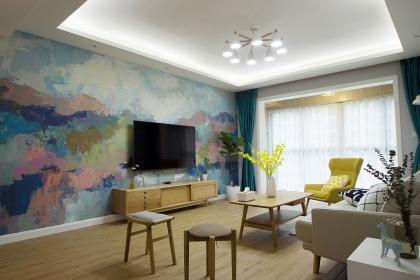 北欧风格设计图,看107平米自然质朴的生活空间