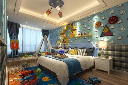 蓝色背景墙儿童房装修效果图,让孩子的世界更精彩